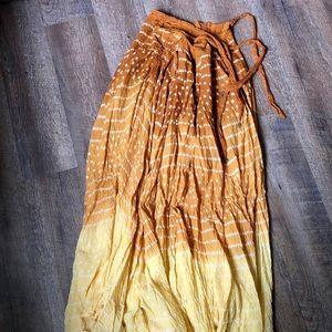 Chaudry Boho Hippie Golden Yellow Maxi Skirt